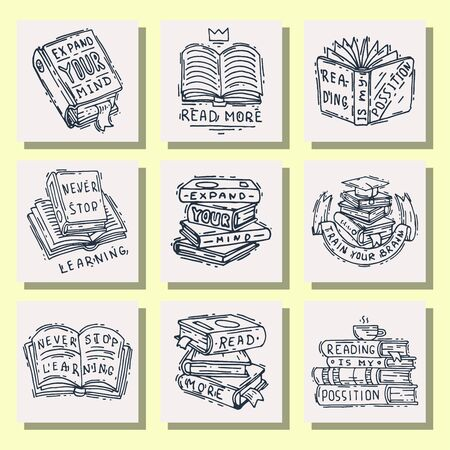 Love reading motivation quote phrases badge  bubble on book illustration.