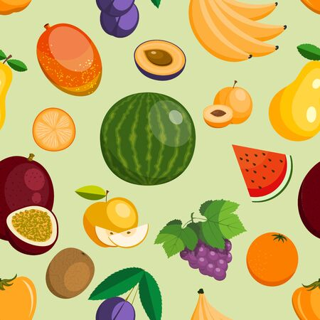 fruits exotic apple, banana and papaya flat style illustration. Fresh fruity slices tropical dragonfruit or juicy orange fruitful seamless pattern background Standard-Bild - 127931483