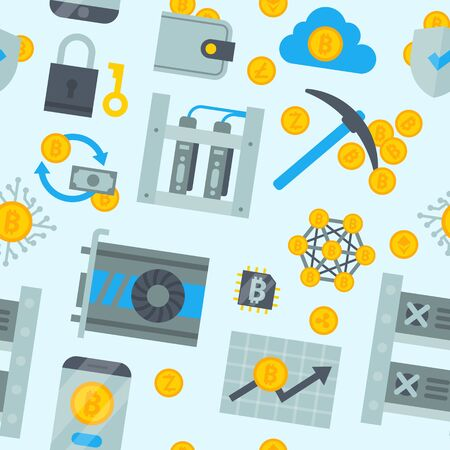 Bitcoin mining money icons finance internet business bit virtual crypto currence blockchain cryptocurrency coins traiding investment illustration exchange concept seamless pattern background