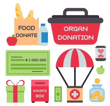 Donate money box set symbols help philanthropy donation contribution charity philanthropy humanity support .