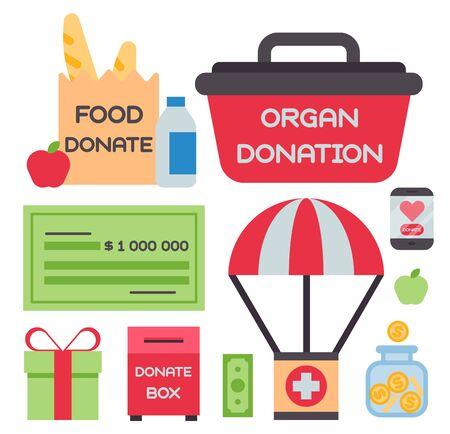 Donate money box set symbols help philanthropy donation contribution charity philanthropy humanity support . Stok Fotoğraf - 127931894