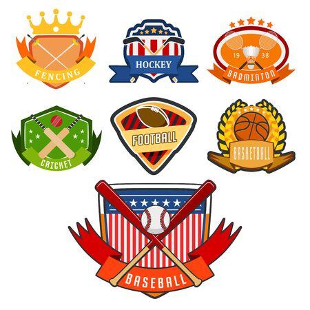 Sport game team   play tournament label champion emblem league competition symbol athletic championship club professional tournament label illustration.