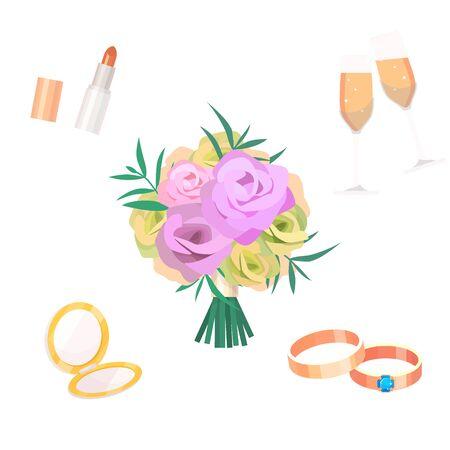 Flowers bouquet wedding bride accessoriesvfashion style bridal hand drawn foliage flat style greeting holidays illustration Reklamní fotografie