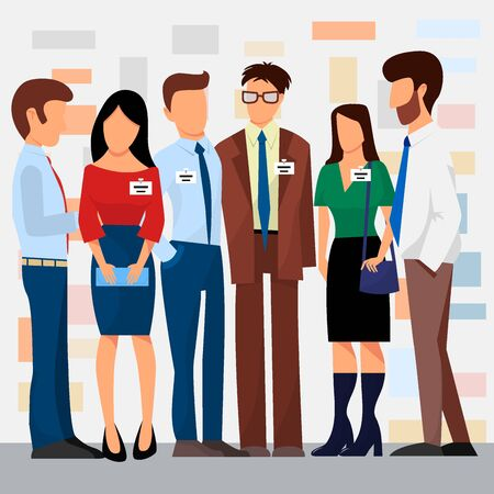 Business people groups presentation to investors conferense teamwork meeting characters interview illustration.