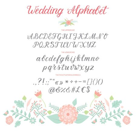 Wedding Day ceremony alphabet text celebration invitation lettering retro card design calligraphy ceremony font illustration. 写真素材