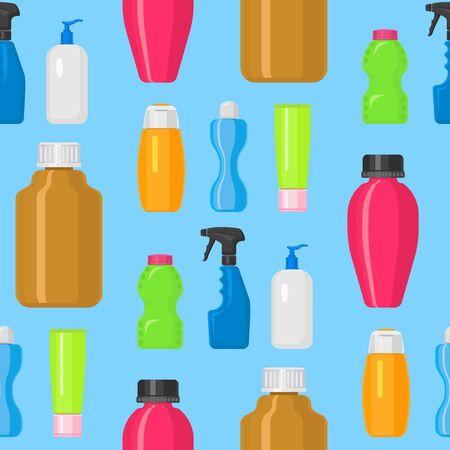 Bottles household chemicals supplies cleaning housework plastic detergent liquid domestic fluid bottle cleaner pack seamless pattern background illustration.