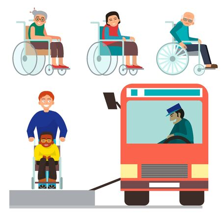 Disabled handicapped diverse people wheelchair invalid person help disability characters disable medical assistance illustration.