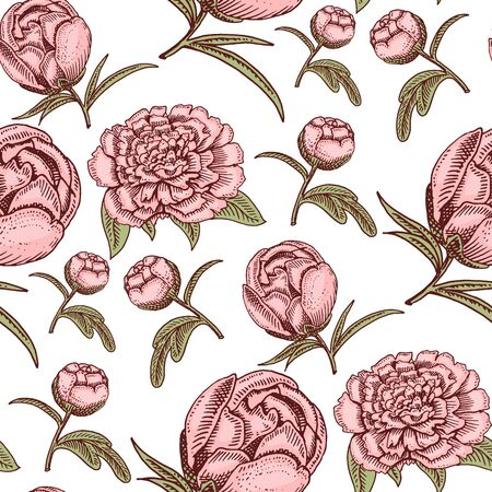Bouquet vintage hand drawn style flowers bud wedding bloom elegant birthday nature design romantic flora blossom seamless pattern background illustration.