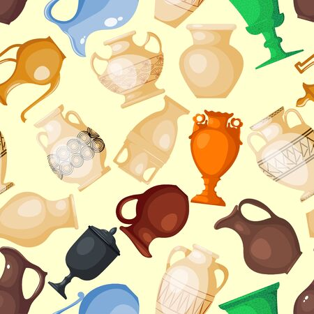 Amphora jar bottle amphoric ancient greek vases and symbols of antiquity and Greece amphora bottle vase illustration set seamless pattern background