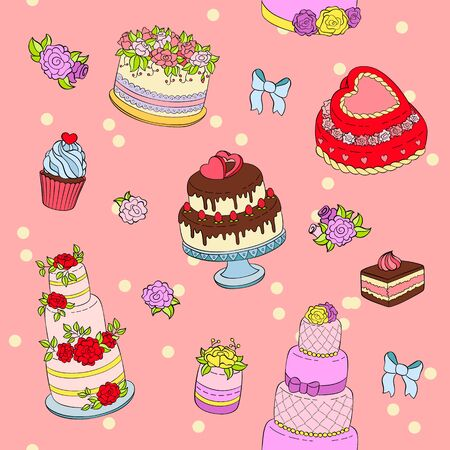 Wedding cake set illustration wed celebration birthday party cake decorations cream dessert with flowers for marriage seamless pattern background
