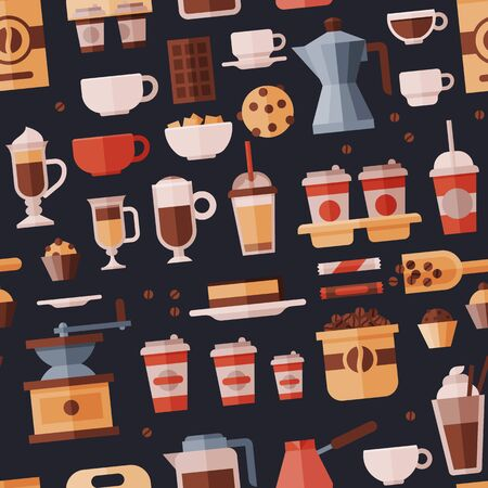 Coffee set coffeemachine with coffeecups for hot espresso or cappuccino and beverages with caffeine in plastic cups takeaway in coffeeshop illustration seamless pattern background