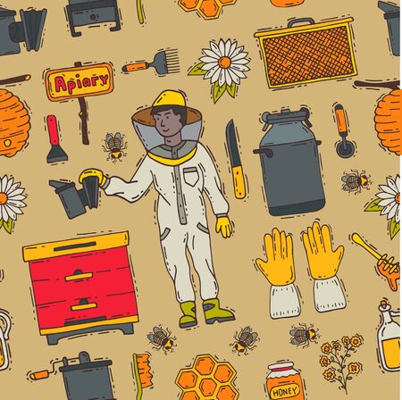 Honey sweet beeceeper apiary farm beekeeping icons set honeymaker bee insect beeswax illustration seamless pattern background