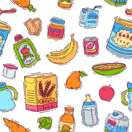 Baby food child healthy nutrition vegetable mashed puree in jar and fresh juice with fruits bananas apples for childcare health illustration set seamless pattern background 写真素材