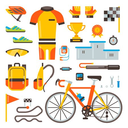 Cycling on bike bicycle accessories of biker or cyclist in sports wear clothes with helmet illustration set of biking race elements isolated on white background 写真素材