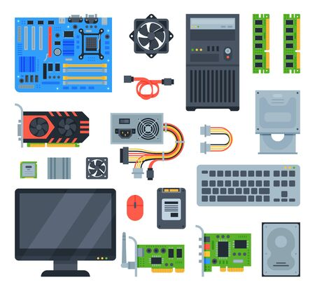 Computer accessories pc equipment motherboard memory and keyboard illustration computing set isolated on white background