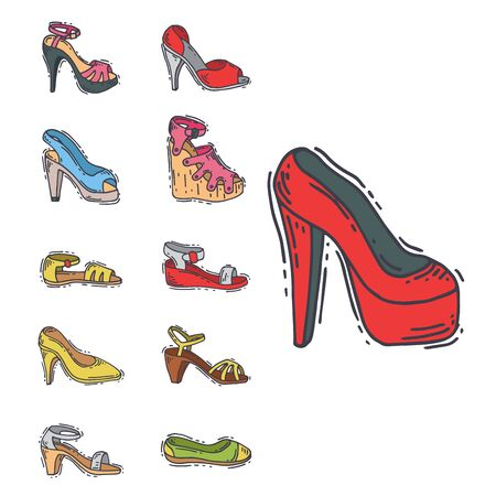 Set of womens shoes flat design hand drawn style of leather colored moccasins heel shoe illustration. 写真素材
