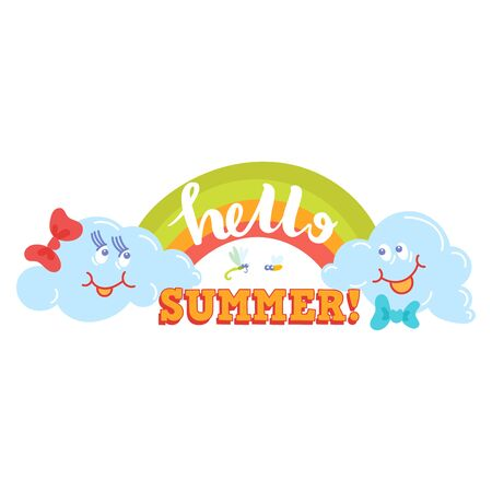 Hello Summer typographic  sign on withe background. Sea plants, sun, beach sea and travel vector illustration. Holiday i love summer   icons sun and fun rest