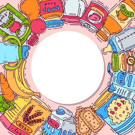 Complementary food for babies circle vector illustration. Baby bottles, puree jars, fruits and vegetables is all around white circle with place for text.