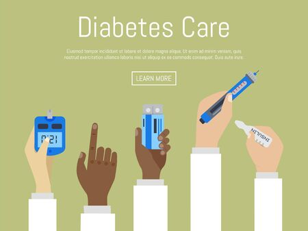 World Diabetes Day Awareness with Doctors hands hold the meter measures for blood sugar level. Doctors hands holding drug and Drops of blood on circle blue background vector design