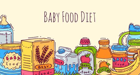 Baby healthy food banner vector illustration. First meal for babies. Baby bottles, puree jars, sippy cups and boxes with porridge. Kids health nutritions menu. Ilustração