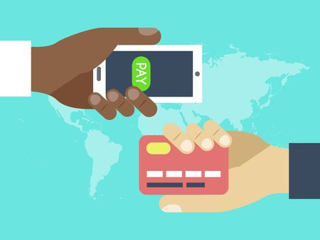 Hands with credit card and contactless wireless mobile phone for payment. Mobile payment. Using mobile smartphone for online purchasing. Online business with payment via phone vector illustration