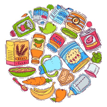 Baby complementary food circle vector illustration. Complementary feeding for children 6 to 8 months old. Baby bottles, puree jars and vegetables.