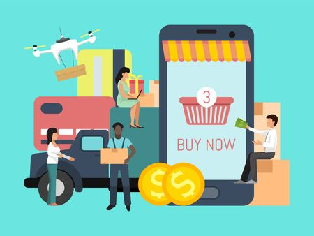 Online shopping cargo tracking app. People with money are waiting online supply background big boxes, truck and credit cards. Delivery service concept vector illustration. Goods via online shop. Ilustracja