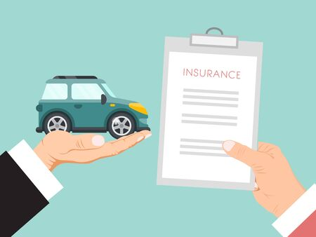 Car insurance contract vector illustration. Hands are holding insurance policy and car. Contract for car insurance for family