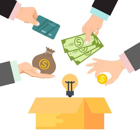 Crowdfunding vector illustration. Cardboard box surrounded by hands with money, bag of money and credit cards. Funding project by donated money