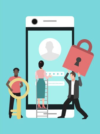 Mobile data protection. Phone security, privacy access with password vector illustration. Woman and men with stepladder, key and lock are protecting phone privacy Illusztráció