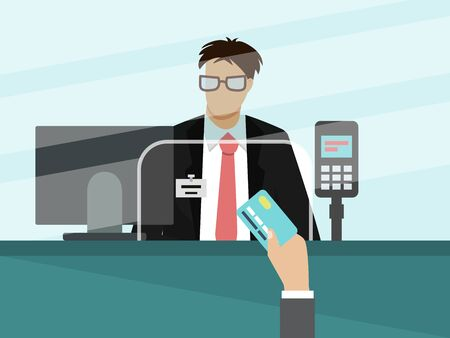 Bank cashier teller behind window vector illustration. Businessman hand with bank card for payment in front of glass.