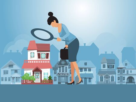 Real estate investments vector illustration. Real estate agent inspecting a house with magnifier. Business woman with magnifying glass is looking for a house for investment.