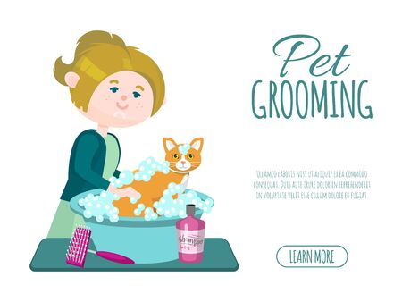 Pet grooming business vector illustration. Groomer girl is washing cute ginger cat with shampoo. Advertising banner of pets grooming.