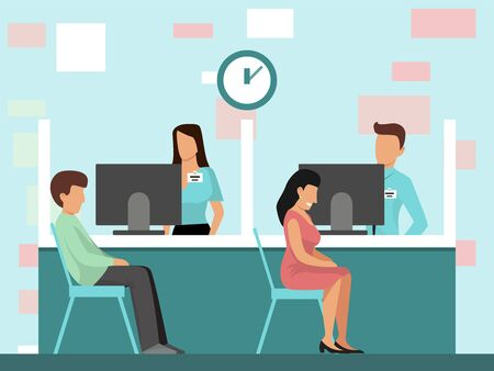 People at credit department in bank office vector illustration. Man and woman are sitting in bank office near managers. Businesspeople at bank interior.