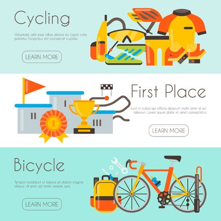 Triathlon web page template cycling competition race vector illustration. Bicycle uniform, podium for champion and bicycle repair. Banner, site and poster template with place for your text.