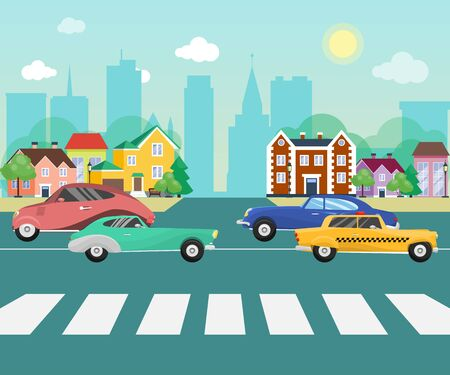 Cars on the road streets of suburb on the background big city with skyscrapers. Cityscape with cars and other vehicles vector illustration. Retro vehicles on the little town street. Illusztráció