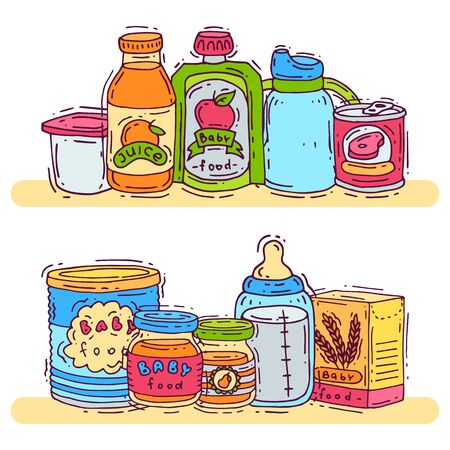 Baby complementary food vector illustration. First meal for babies is standing on shelves. Baby bottles, puree jars, sippy cups and boxes with porridge 일러스트