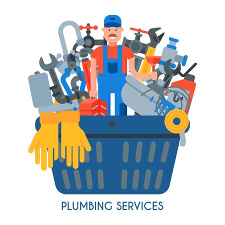 Set of plumbing services vector illustration. Professional plumber man with tool case and plunger among plumbing things for repair and tools is in a large basket.