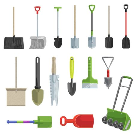 Shovel gardening shoveling equipment spade object of agriculture work in garden illustration set of shoveled spaded handle and shovelful farm symbol isolated on white background