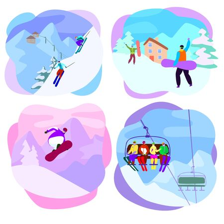 Ski resort active people characters skiing, snowboarding on slopes. Illustration set of extreme man, woman lifting together on winter vacation isolated on white background