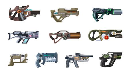 Pistolet laser blaster d'armes spatiales avec arme de poing futuriste et pistolet à rayons fantastique d'extraterrestres dans l'ensemble d'illustrations spatiales de pistolets de dessin animé pour enfants isolés sur fond blanc