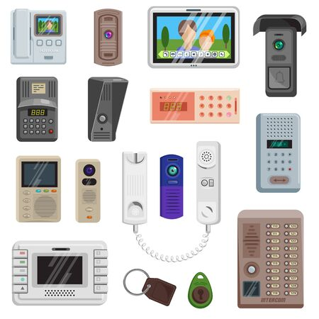 Intercom on-door communication equipment in house illustration set of door entrance protection security safety system access doorbell video technology key trinket isolated on white background