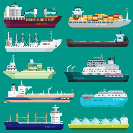 Insieme dell'illustrazione del contenitore di commercio di esportazione del trasporto di trasporto della nave da carico della spedizione del porto di trasporto merci di affari industriali isolata su fondo