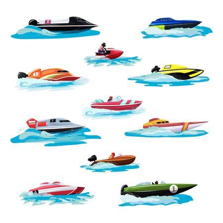 Yacht di motoscafo di velocità della barca che viaggia nell'insieme nautico dell'illustrazione dell'oceano delle vacanze estive sul trasporto della nave del motoscafo della barca a motore dalle onde del mare isolate su fondo bianco