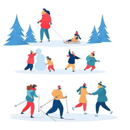 Winter activities active people skiing, skating and sledding together. Illustration set of family characters, children playing snowballs in wintertime isolated on white background