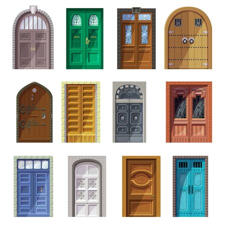 Doors vintage castle doorway front entrance indoor house interior illustration set of historic building antique entry doorpost doorsill and medieval gate isolated on white background