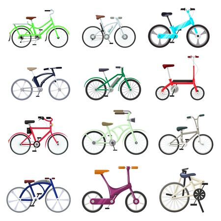 Bicycle bikers cycle biking transport with wheels and pedals illustration bicycling. Set of bicyclist cycling speed race sport transportation isolated on white background.