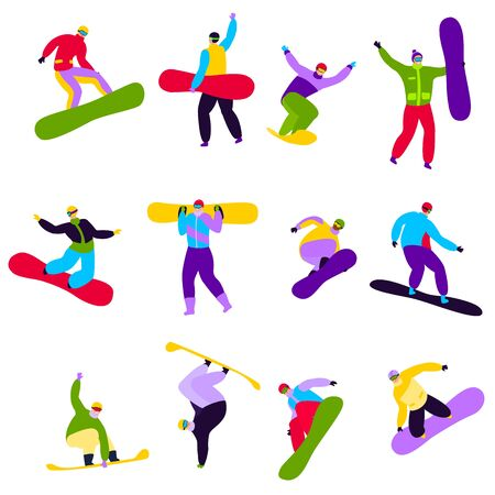 Snowboarder extreme young people snowboarding in winter. Illustration set of teenagers characters jumping on board for fun and sliding fast isolated on white background. Active lifestyle.