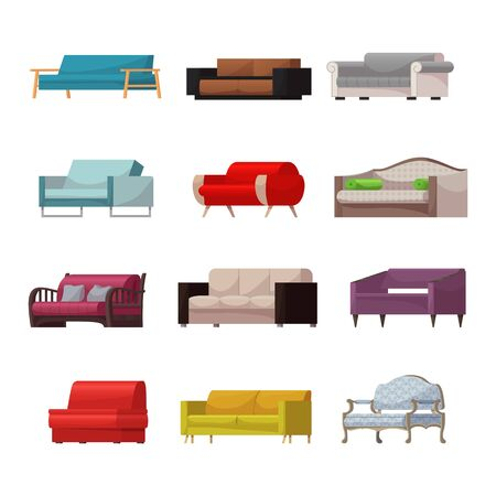 Sofa modern furniture couch seat furnished interior design of living-room at apartment home illustration furnishing set of modern armchair sofa-bed settee, isolated on white background.