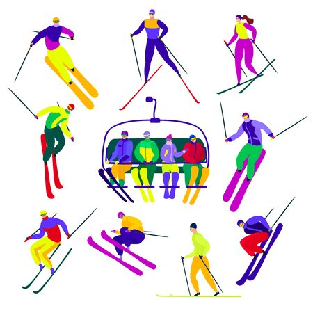 Skier active people characters skiing with ski poles on slopes. Illustration set of extreme man, woman lifting together on ski resort isolated on white background. Winter activity.